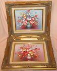 Vintage 2 Original ROBERT COX OIL on CANVAS Floral Painting FLOWERS GOLD FRAMES