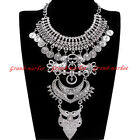 Vintage Ethnic Tribal Silver Chain Collar Choker Statement Pendant Bib Necklace