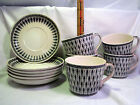 Metasco Japan Geometric Pattern & Feathers White / Black 6 saucers 5 cups