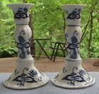 TWO Blue Danube Tall Candlesticks Candle Holders  Japan