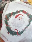 Bucilla Stamped Cross Stitch Happy Holidays Christmas Santa Lap Quilt Kit