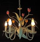 GORGEOUS FRENCH ANTIQUE VINTAGE TOLEWARE 5 BRANCH CHANDELIER W TULIPS