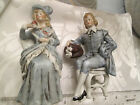 German bisque porcelain figurines FINE hand painted 17th c. costume c1880-1910