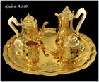 TETARD : Luxurious French Vermeil Sterling Silver 6pc Tea Coffee Tray Set c.1900