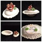 (1) ITALY PORCELAIN ItalianTRINKET LIDDED BOX DISH Applied Rose Signed/Numbered
