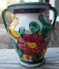 VINTAGE BEAUTIFUL ITALIAN FLORAL CERAMIC HANDPAINTED VASE SIGNED ITALY129/P.G. ~