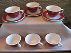 JACKSON Custom Restaurant China Cups, Saucers Scallop edge Red