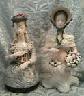 Vintage Pair Of Cordey Porcelain 1940'S Victorian Figurines - Numbered Multi Col