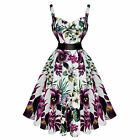 Hearts and Roses London Pretty Purple Floral 1950s Vintage Tea Party Dress