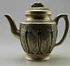 Collectible Decorated Old Handwork Tibet Silver Carved Totem Dragon Tea Pot
