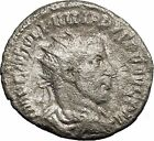 Philip I the Arab Silver Authentic Ancient Coin Pax Peace Cult i50614