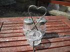 Vintage Epns and Glass Cruet Set On Stand