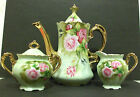 Vintage Lefton Tea Pot with Creamer & Sugar Bowl Green Heritage Pink Rose