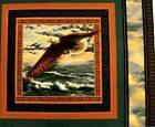 Wings of Glory Bald Eagle Soaring Over Ocean Cotton Fabric Pillow Panel