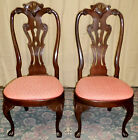 VINTAGE Henredon Mahogany Carved Queen Anne Style Side Chairs, PAIR