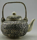 Collectible Decorated Old Handwork Tibet Silver Carved C0in Tea Pot