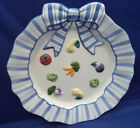 Canape Plate Fitz Floyd PETITS VEGS Blue Ribbon Handle Raised Vegetables 9