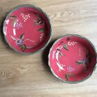 Tracy Porter Octavia Hill Coupe Bowl Flowers Fruit On Red Set Of Two 8