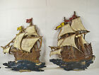 Vtg Set of 2 USA 60s Ship Boat Anchor Metal Wall Plaque Pirate Nautical Decor