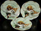 THREE (3) Haviland France Dog Retriever w/ Duck Game Plates 9 3/4