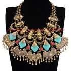 Vintage Gold Chain Green Red Resin Chunky Choker Statement Pendant Bib Necklace