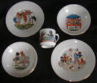 Lot 5 Pcs Germany Childrens Nursery Rhyme Dinnerware-2 Plates 2 Bowls