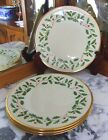 4 LENOX HOLIDAY DIMENSION COLLECTION 24K GOLD RIM/ HOLLY/BERRIES  DINNERS
