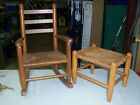 Vintage Child's Cane Woven Wood Rocking Chair and Stool