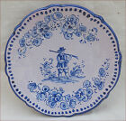 Spanish Blue White Hand Painted Faience Scalloped Plate Lufeco Valencia