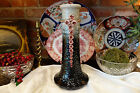 LARGE Antique French Barbotine Majolica Vase Art Deco Pink Flower Roses Ceramic