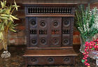 Antique French Breton Brittany Carved Dark Wood Miniature Doll Armoire Cabinet