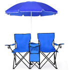 Portable Folding Picnic Double Chair W Umbrella Table Cooler Beach Camping Chair