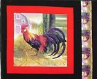 Red Rooster in the Barnyard Cotton Fabric Pillow Panel