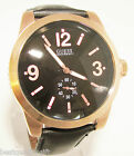 NEW-GUESS BLACK LEATHER BAND+S/STEEL ROSE GOLD DIAL+LOGO MENS WATCH-U12010G1