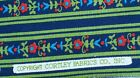 Blue Green Floral Stripe 2.5 yds Cotton Fabric Cortley Olive Navy Red Flowers