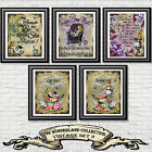Alice In Wonderland Quote Set Dictionary Book Page Print Wall Art Picture