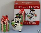 Fitz And Floyd Frosty's Frolic Salt & Pepper Shakers Brand NEW in Box PRETTY!