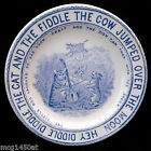 CAT FIDDLE COW MOON Transferware Nursery Rhymes CHILDS PLATE 1888 England Blue