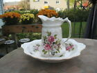 #T4 Old Foley James Kent Staffordshire England Pitcher & Bowl White w/roses