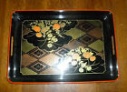 vintage Japanese 1950s BLACK LACQUER TEA SERVING TRAY 19x13 Rectangular