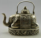 Asia Collectible Decorated Old Handwork Tibet Silver Carved Elephant Tea Pot