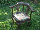 Antique Corner Chair Cir 1800 Oak Wood Carve Squirels Claw Feet Needlepoint Seat
