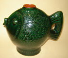 OLD VINTAGE GLAZED REDWARE ART POTTERY JUG PITCHER RARE Shape Green  FISH
