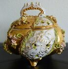Vintage Sesto Fiorentino Hand Painted Footed Gold Bowl / Centerpiece With Lid