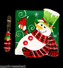 FITZ AND FLOYD CHRISTMAS HOLLY HAT SNOWMAN PLATE WITH SMALL CHEESE KNIFE