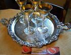 ROCOCO VINE VINTAGE STYLE SILVER CHASED HANDLED BAR WAITER SERVING TRAY  ENGLISH