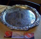 ROCOCO VINE VINTAGE STYLE SILVER CHASED SALVER WAITER SERVING TRAY  ENGLISH