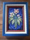 Antique German Karlsruhe Floral Tile Plaque Majolica Nicely Framed