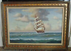 LARGE Charles W. Morgan Clipper Tall Sailing Ship Painting Oil on Canvas Signed