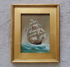 Oil on Wood Clipper Tall Ship Full Sail Painting Signed (Lawrence) Forbes Wolfe